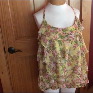 Yellow and pink ruffle floral sleeveless blouse